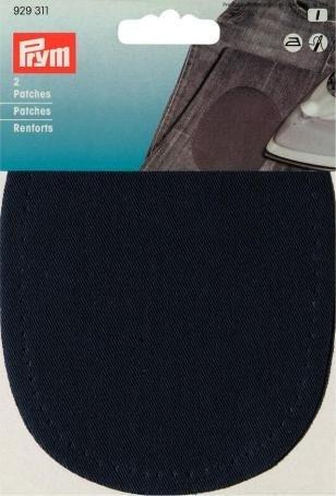 Toppe, Tessuto Misto, termoadesive, Blu Marine, 2 Pezzi