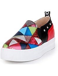 SHOWHOW Damen Strass Mehrfarbig Plateau Sneakers Freizeitschuh Rot 42 EU