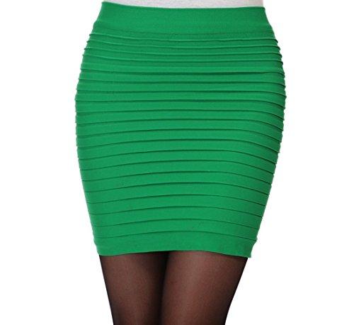 Minetom Donne Elegante Allungare Matita Gonna Ginocchio Lunghezza Minigonne A Vita Alta A-Line Vestito Verde