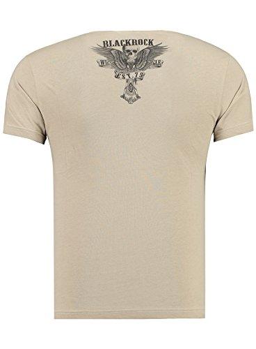 BlackRock Herren T-Shirt Slim-Fit Totenkopf Skull Bones Adler Elasthan 512007 - Beige
