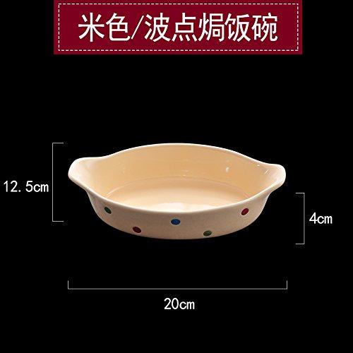 YUWANW Kreative Keramik Teller Japanisches Frühstück Gerichte Western Steak Tastatureinschub Home Obst Gemüse Fach Tief Fach Zum Mittag- Fach, Beige Wave Point (Gebackene Schüssel Reis) Wave Rice Bowl