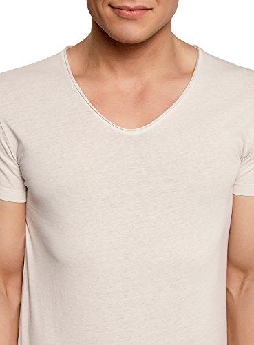 oodji Ultra Herren Baumwoll-T-Shirt mit V-Ausschnitt Elfenbein (3000N)