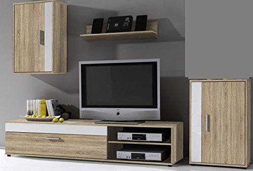 2.2.3.2.2528: moderne und günstige Wohnkombination - weiss-sonoma-dekor - TV-Lowboard - Regal - Hängeschrank - Anstellschrank