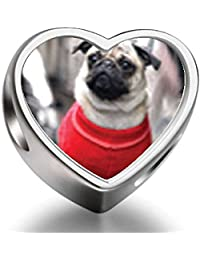 925 Sterling Silver Charms Beads Dressed Up Pug Heart Photo Charm BeadsCharms Bracelet