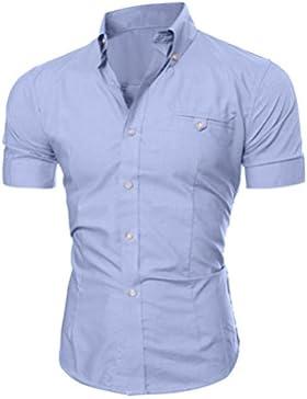 Beauty Top Camicia Uomo Maglietta Moda Casual Business Camicie Manica Corte Slim Fit Elegante T-Shirt Top