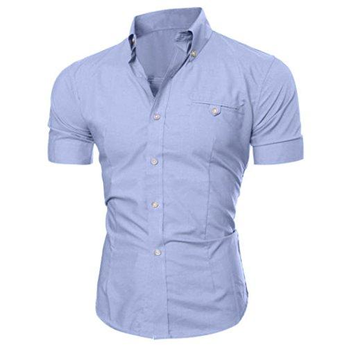 Beauty top camicia uomo maglietta moda casual business camicie manica corte slim fit elegante t-shirt top (grigio, 3xl)