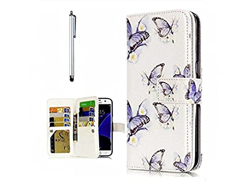 KSHOP Case for Huawei P8 lite Case Stand PU Leather Book Style Cellphone Cover with Stand Function Card Holder Magnetic closes Anti-Shock Protective Bumper Shell-Flowers and Butterflies + Metal Touch Pen,Silver