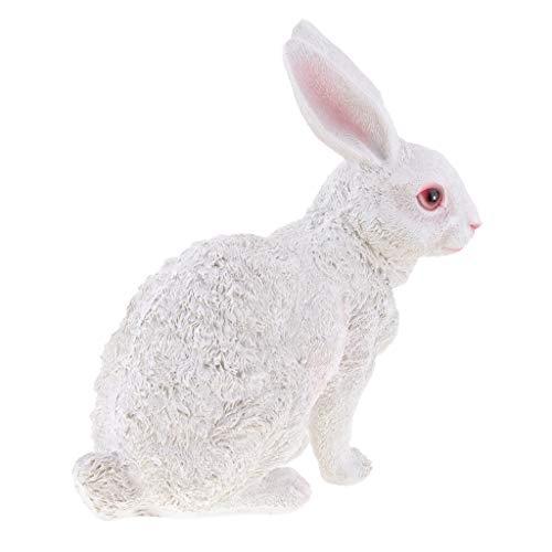 B Blesiya Ornamento de Conejo de Resina Artificial Estatua Suministros de Cortacésped Decoración Jardín - Sentado Blanco