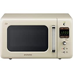 Daewoo - Microondas retro crema 20 litros digital con grill, 800 W,