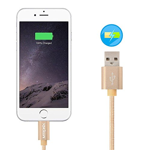 Cavo Lightning su USB MTRONX Cavo iPhone [Pack di 2] 3 m Nylon Intrecciato con Alluminio Connettore Lightning di Sincronizzazione e Cavo di Ricarica per Apple iPhone SE/5/5s/5c 6/6s Plus 7/7s Plus, iP Pack di 2 (1 m)