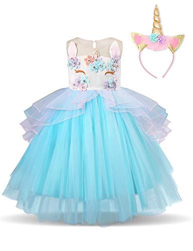NNJXD Mädchen Einhorn Party Kostüm Blume Cosplay Hochzeit Halloween Fancy Prinzessin Kleid + Kopfbedeckung Größe (140) 7-8 Jahre Blau