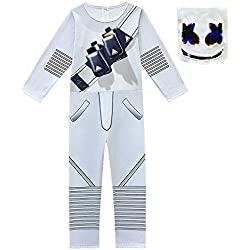 Niños fanáticos de la música de Halloween DJ Cosplay Traje Mono Mono con máscara para niños Cosplay Party Dress Up