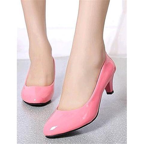 LFNLYX Zapatos de mujer-Tacón Bajo-Tacones-Tacones-Exterior / Casual-Semicuero-Negro / Rosa / Rojo / Blanco / Beige , pink , us6.5-7 / eu37 / uk4.5-5 / cn37