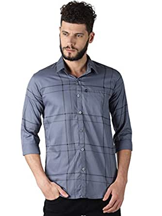 LEVIZO Men's Checkered 100% Cotton Casual Classic fit Full Sleeves Shirt Greyish Blue Small