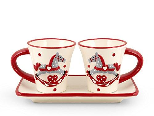 H&H Cavallino Tazze Caffè, Ceramica, Bianco e Rosso, 2 Unità