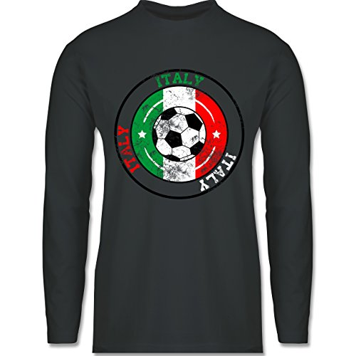 EM 2016 - Frankreich - Italy Kreis & Fußball Vintage - Longsleeve / langärmeliges T-Shirt für Herren Anthrazit