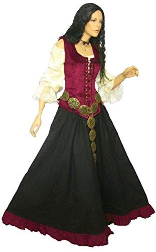ittelalter LARP Kleid Marketenderin, Farbe:schwarz/weinrot, Größe:M (Wahnsinnige Kostüme)