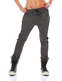 Fashion4Young Damen Haremshose Hose Baggy Boyfriend Freizeithose Jogginghose Sporthose in 5 Größen.