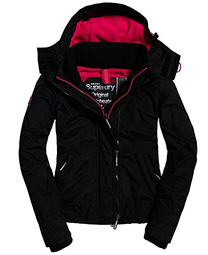 Superdry Damen Sportjacke G50023ZPF9, Nero (Black Raspberry), Small (Fleece-gefütterte Jacke Nylon-kapuze)