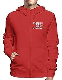T-Shirtshock Sudadera con Capucha Zip Rojo WC1235 Manchester United d1ed764f4021c