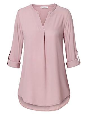 Youtalia Damen Freizeit Chiffon V-Ausschnitt Manschetten-Ärmel Locker Shirt Bluse Oberteile