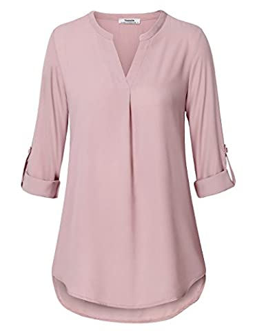 Ladies Work Tops,Youtalia Womens Casual Solid V Neck Cuffed Sleeve Pleated Front Chiffon Blouse Dark Pink X-Large