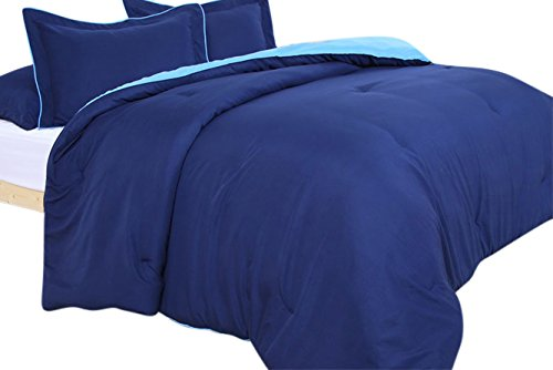 Wohlstand Home Fashions Mikrofaser Tröster, Navy / Hellblau, Full/Queen