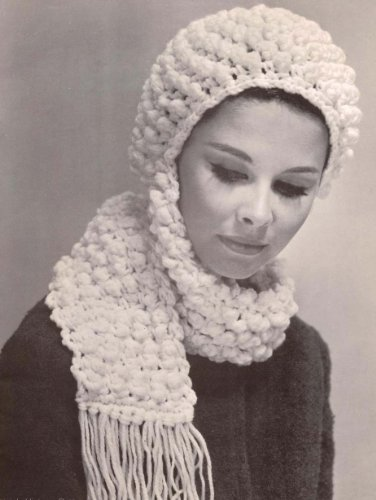 Popcorn Hat With Scarf Crochet Pattern Crocheted Cap Ebook Charlie