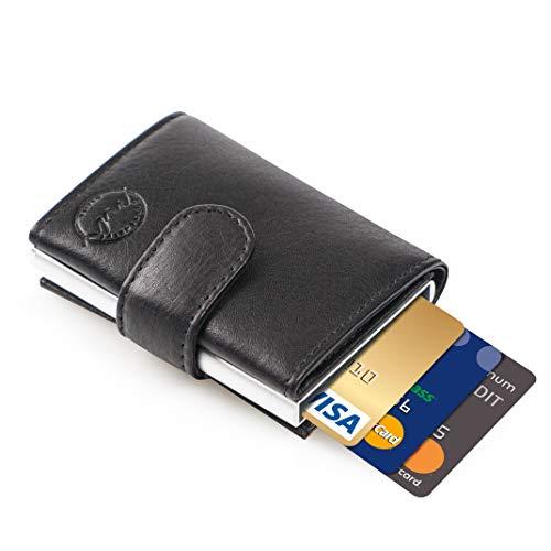 MANUFAKTUR NIKITA® Kreditkartenetui mit RFID Schutz aus echtem Leder für Herren und Damen Portemonnaie Geldbörse Slim Wallet Geldbeutel mit gratis Geschenkverpackung -