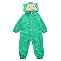 Gagacity Unisex Kids Waterproof Jumpsuit One Piece Animal Printed Rainsuit Coverall Baby All-in-One Suit 1-7y