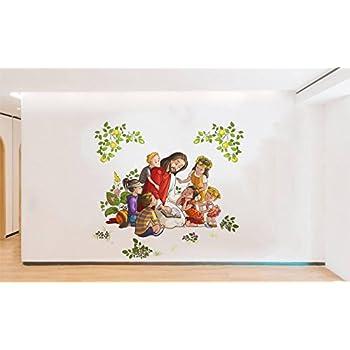Rawpockets 'Lord Jesus with Kids' Wall Sticker (PVC Vinyl, 1 cm x 70 cm x 90 cm)