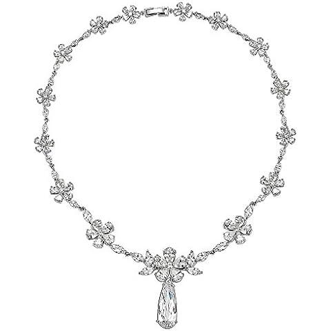Gnzoe Placcato argento Donna Flower A goccia CZ Diamante(Laboratorio creato) Orecchini & Collane Argento Parure di gioielli - Wire Nome Collane