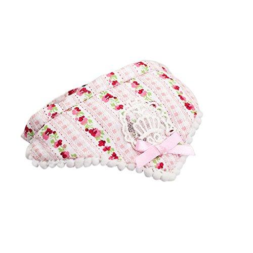 Generic Blumenmuster Hundehalsband Halstuch Spitze Bowtie Dehnbare Hund Speicheltuch ,100% Baumwolle - Rosa , S
