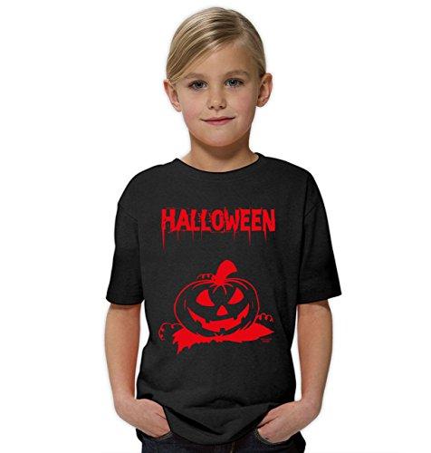 Halloween-Kostüm-Kinder-Jugend-Fun-T-Shirt Gruselig witziges Shirt für Kids Mädchen Girlie Halloween Geister Gespenster Kürbis Outfit Geschenk Idee Farbe: schwarz Gr: 122/128