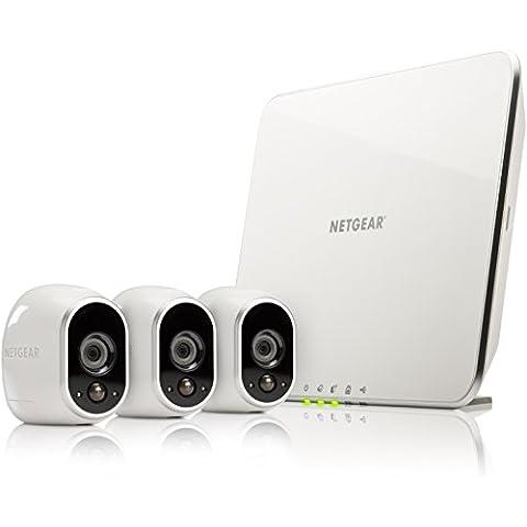 Netgear Arlo VMS3330-100EUS - Sistema inteligente de cámaras IP 100% libres de cables para video (3 unidades, montaje en interior y exterior resistentes al agua, no sumergible)
