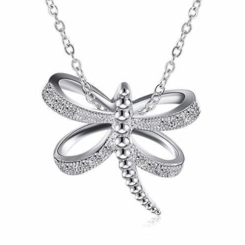 IzuBizu London Dragonfly Diamant Anhänger 925 Stirling Silber Tier Kristall Halskette - Kostenlose Geschenkverpackung (Hipster Honig)