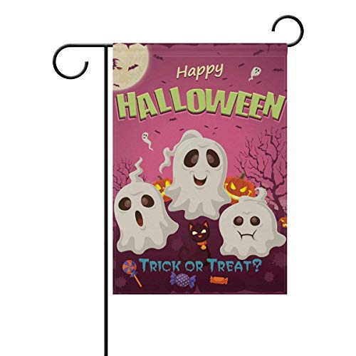 py Halloween Skull Trick or Treat Garden Yard Flag Banner for Outside House Flower Pot Double Side Print 12x18 inches ()