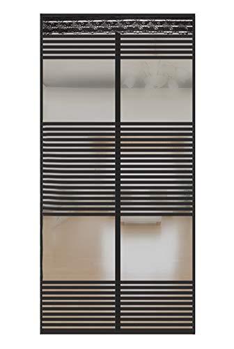 Liveinu Magnet Fliegengitter Tür Insektenschutz mit Klettband Fassung Moskitonetz Fliegenvorhang für Balkontür Wohnzimmer Schiebetür Terrassentür Klebmontage Ohne Bohren 120x220cm Schwarz