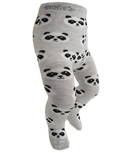 EveryKid Ewers Mädchenstrumpfhose Strumpfhose Markenstrumpfhose Kleinkind ganzjährig Panda Bär für Kinder (EW-905046-W18-MA6-3081-80/86) in Hellsilber, Größe 80/86 inkl Fashionguide - Niedliche Strumpfhose Strumpfwaren