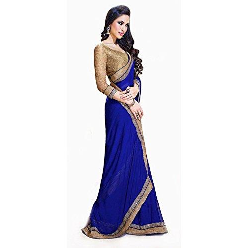 Janasya women's Jai Ho Blue color Chiffon saree with heavy border  available at amazon for Rs.399