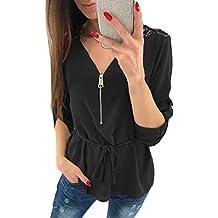 Camisa Casual Tops de Encaje para Mujer Camiseta con Cuello en V para Mujer Suelta Blusas