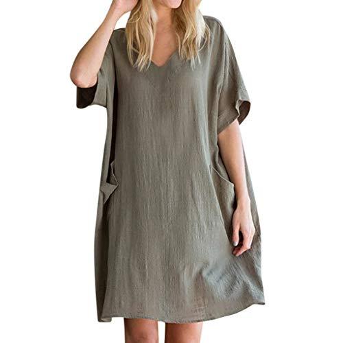VEMOW Sommerkleid Gerades Kleid Elegante Damen Knielang Plus Size Tasche Lose Kleid Damen Leinenkleider Große Größen Rundhalsausschnitt Beiläufige Kurze Ärmel Kleid(Armeegrün, EU-38/CN-S)