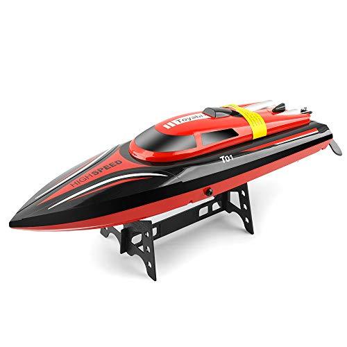 RC Boot für Kinder und Erwachsene High Speed   30KM / H Fernbedienung Spielzeugboot für Seen und Flüsse 2.4GHz Selbsteinstellende wasserdichte Fernbedienung Elektrisches Schnellboot mit Batterie
