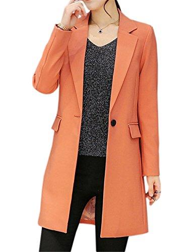 JOTHIN Damen Herbst Business Lange Blazer Große Größen Eleganter Jacke Plain Langarm Mantel Moderne Outwear (Orange, M) (Rosa Nadelstreifen-blazer)