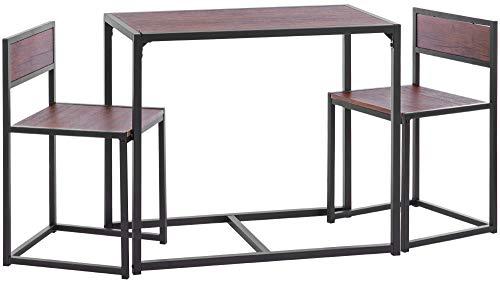 ts-ideen 3-teiliges Set Essgruppe Frühstückstisch Tisch 2 Stühle Küche Esstisch für Esszimmer Küche Studentenwohnung (Kleines 3-teiliges Küchen-tisch-set)