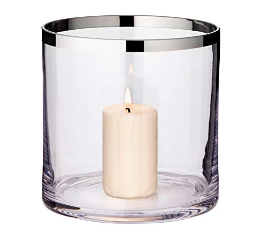 EDZARD Windlicht Molly, mundgeblasenes Kristallglas mit Platinrand, Höhe 18 cm, Durchmesser 18 cm