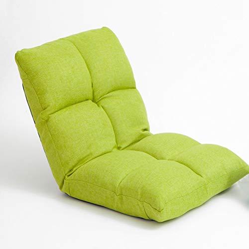 Puffs pera Silla de Piso con Respaldo Ajustable, Silla de sofá de Lounger Gaming, Silla de computadora de la Cama, Sala de Estar reclinable (Color : Green)