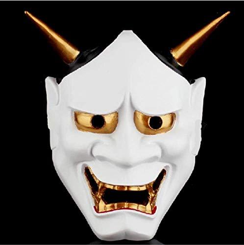 Monster Kostüm Für Vintage Erwachsenen - FENGZ Halloween Horror Mask Masken Vintage Japanischen Buddhistischen Bösen Maske Kostüm,White