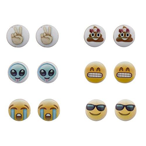 Regenbogen Peace Hat Zeichen (LUX Zubehör Emoji Smiley Faces Alien Peace Zeichen multi Ohrring Ohrstecker Set)