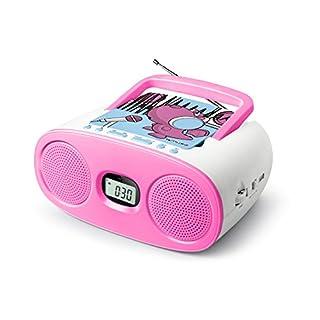 Muse M-23 KDG CD-Radio für Kinder (CD / MP3, USB, AUX-In, LCD-Display, Teleskopantenne, Netz- oder Batteriebetrieb), Rosa / Weiß mit Comic-Motiv